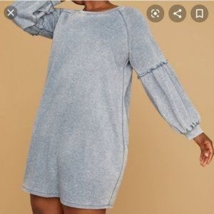 NWT Lane Bryant Blue Puff Sleeve Sweatshirt Dress
